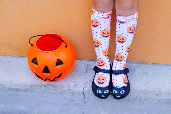 White Dot Pumpkins Knee High Socks