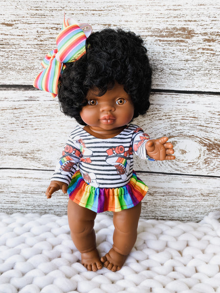 Black Stripe Rainbow Roller Skates Minikane Leotard