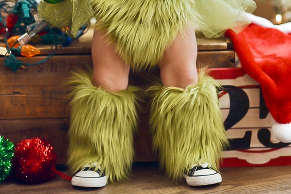 *Limited Edition* Olive Grinch Faux Fur Leg Warmers