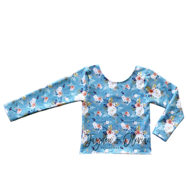 Teal Autumn Floral Long Sleeve Top (Child)