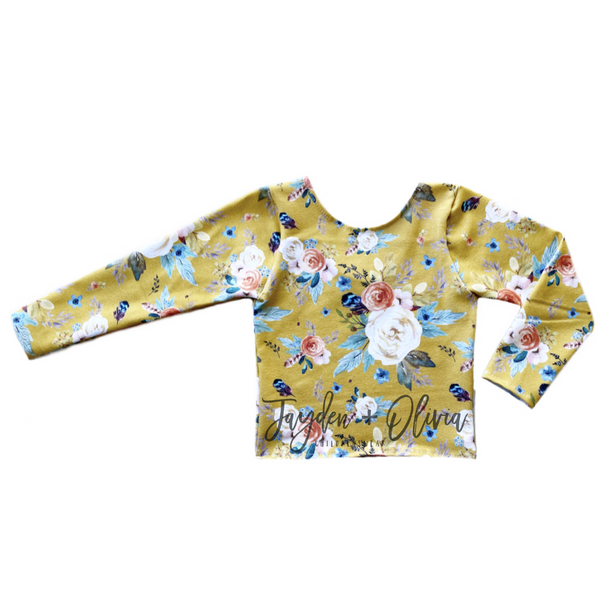 Mustard Autumn Floral Long Sleeve Top (Child)