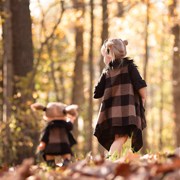 Black & Brown Plaid FAUX FUR Cape Vest