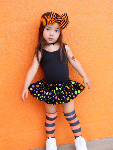 Black & Orange Confetti Dot Bloomer Skirt