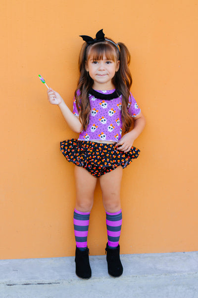 Purple Stripe Knee High Socks