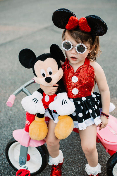 CLASSIC Red SPARKLE Black Dot Minnie Eyelet SKIRT Romper