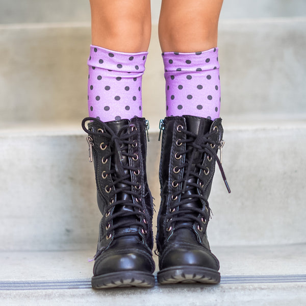 Purple Dots Knee High Socks