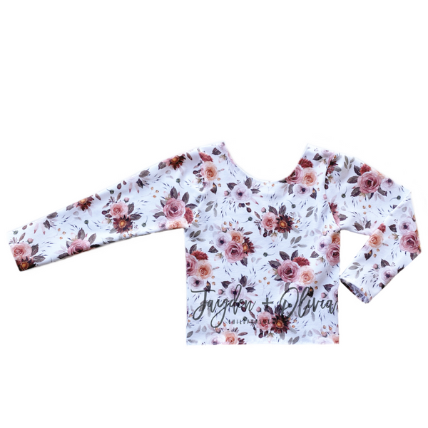 White Autumn Floral Long Sleeve Top (Child)