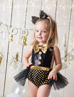 NEW YEARS Black Sparkle CHEERS Romper
