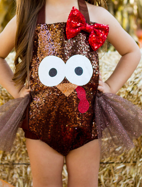 Thanksgiving Turkey Sparkle Bow Romper