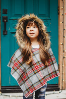 Grey FLANNEL Plaid HOODED Poncho