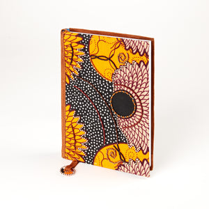 "Notebook Wrapped in Kitenge Fabric, Medium- ""Equinox"""