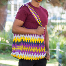 "Load image into Gallery viewer, Compact Kitenge Tote Bag- ""Frequency"""