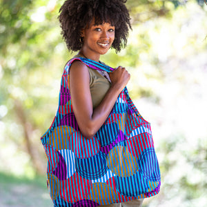 "Compact Kitenge Tote Bag- ""All Shapes"""