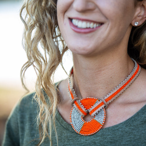 Chocker Necklace with Maasai Disk- 16