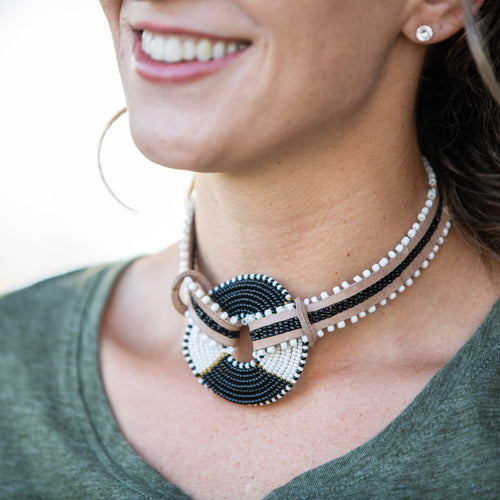Choker Necklace with Maasai Disk- 14