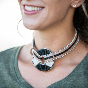 Choker Necklace with Maasai Disk- 14""