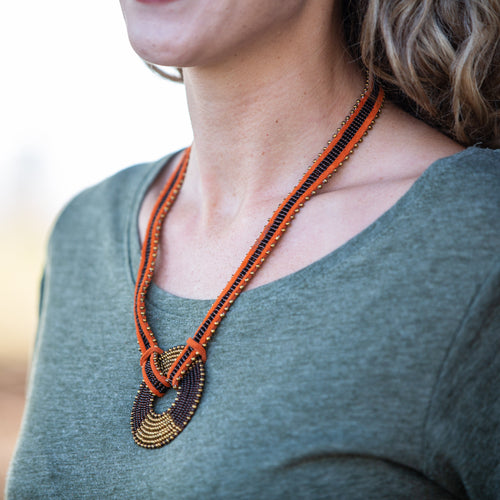 Necklace with Maasai Disk- 22