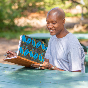 Notebook Wrapped in Kitenge Fabric, Large- Jambo""