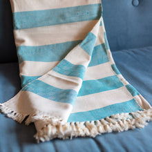 "Load image into Gallery viewer, Tanzanian Cotton Blanket- ""Summer Oceans"""