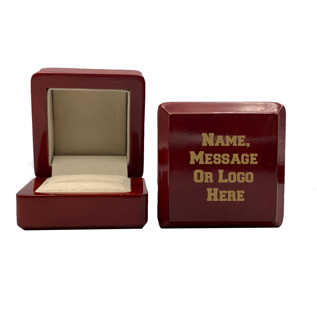 Engraved Custom Logo Ring Box - J3 Rings - State Champions, National Champions, Conference Champs,  World Champion, League Champions,  Little League champions, Corporate Recognition
