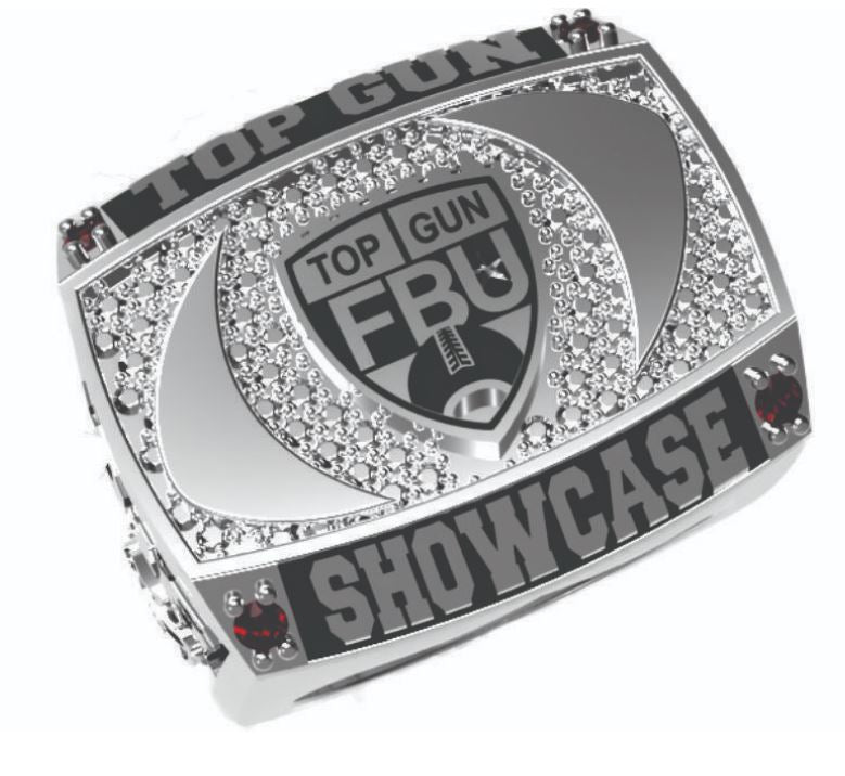 FBU - Top Gun Showcase- Silver Tone - J3 Rings - State Champions, National Champions, Conference Champs,  World Champion, League Champions,  Little League champions, Corporate Recognition