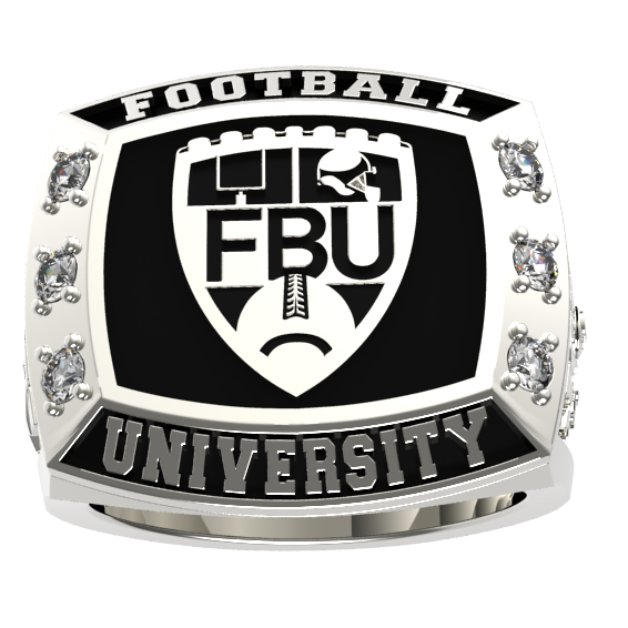 FBU - Silver Tone with Custom Player Name  - J3 Rings - State Champions, National Champions, Conference Champs,  World Champion, League Champions,  Little League champions, Corporate Recognition