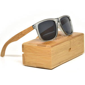 Square Bamboo Wood Sunglasses with Black Polarized Lenses