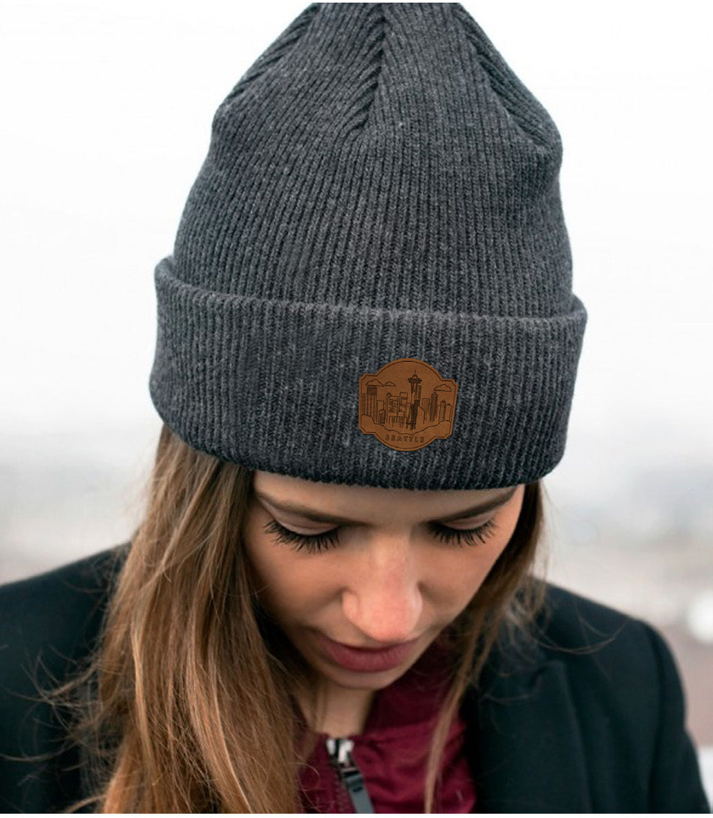 Seattle, Washington Beanie - Adult Leather Stamped Skyline Knit Hat