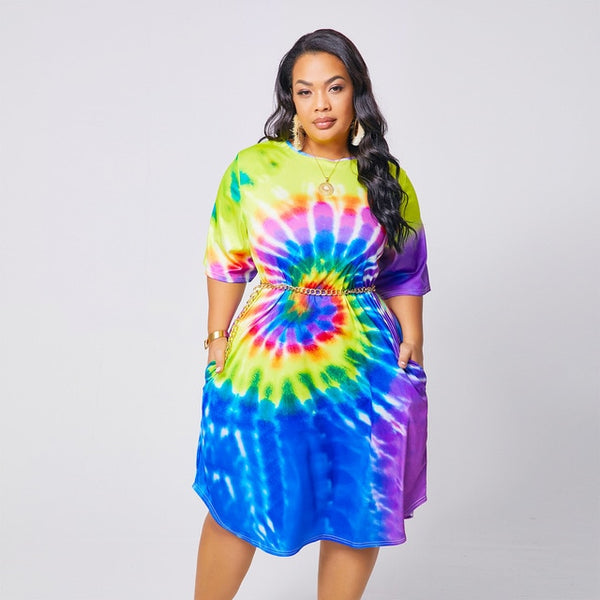 Plus Size XL-4XL Tie Dye Black Hole Print Short Sleeve Knee Length Slim Dress