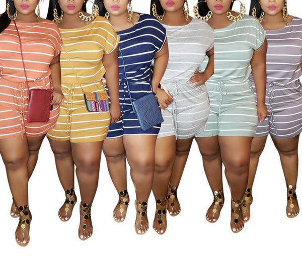 Summer Loose Striped Printing Plus Size Women's Jumpsuit Shorts Boho Rompers One Piece Playsuit 4XL 5XL Overalls Body Mujer
