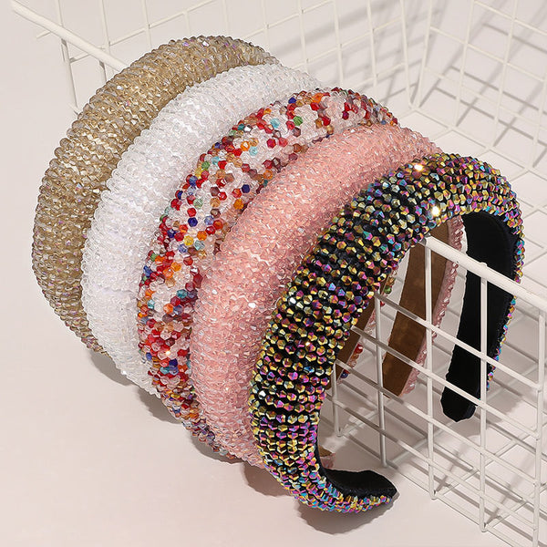 Luxury New Bejeweled Padded Headbands Fashion Luxurious Rhinestones Sponge Hairbands for Women Sparkly Novelty Headbands