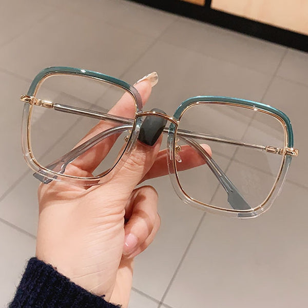 Green Clear Print Square Anti-blue Light Eyeglasses For Women Alloy Leopard Oversize Computer Myopia Glasses Frame Female Shades