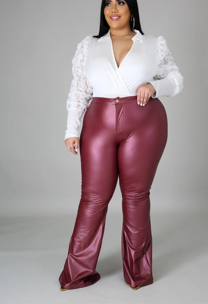 Plus Size XL-5XL Faux Leather PU High Elastic Bell Bottom Pants Solid Skinny Zipper Fly Pockets Flare Pants Women Winter