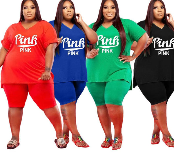 Plus Size Women Two 2 Piece Outfits Set Pink Short Sleeve T-shirt and Knee Length Shorts Matching Set Active Tracksuit
