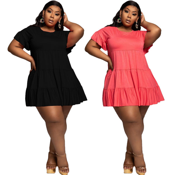 Plus Size XL-5XL Dress Women Short Butterfly Sleeve O-neck Above Knee Loose Ruffles Dresses Office Elegant Pleated Outfits