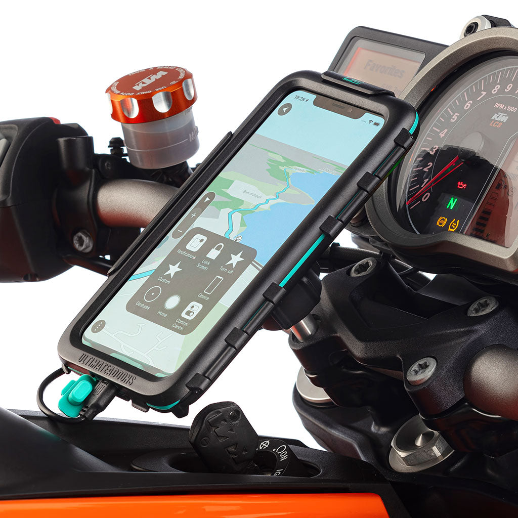 iPhone XR Motorcycle Satnav Top Clamp Waterproof Case Mount - Ultimateaddons