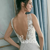 Sparkling Lace A line Wedding Dress with Deep Neckline Plunge, Flower Appliques and Light Sparkly Beading
