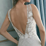 Sparkling Lace light grey silver Wedding Dress A line shape  with Deep Neckline Plunge, Flower Appliques and Light Sparkly Beading