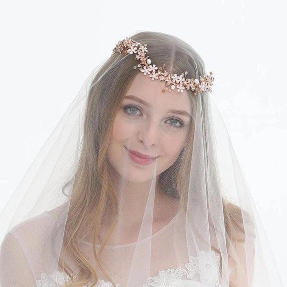 wedding rose gold hair vine for bride, beautiful freshwater hair accessories