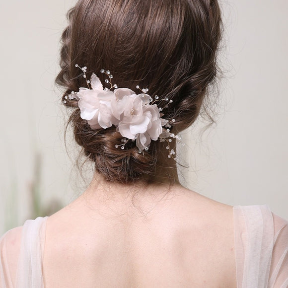 Blush Hairpiece,  pink chiffon flowers hair comb, rose gold floras Bridal hairpiece, Blush Organza Flower Hair Comb, Bridal headpiece