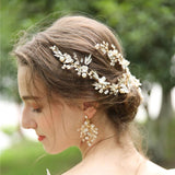 wedding bride floral Hair vine hairpiece hair comb , Crystal Wedding Hair band, Crystal Hair Comb, Gold Bridal Headpiece