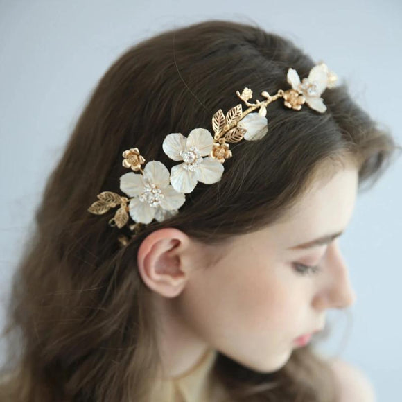 gold romantic white flowery bridal hairpiece hair vine for weddings, flower hairpiece headband, light gold floras hari vine, bridal hair accessories