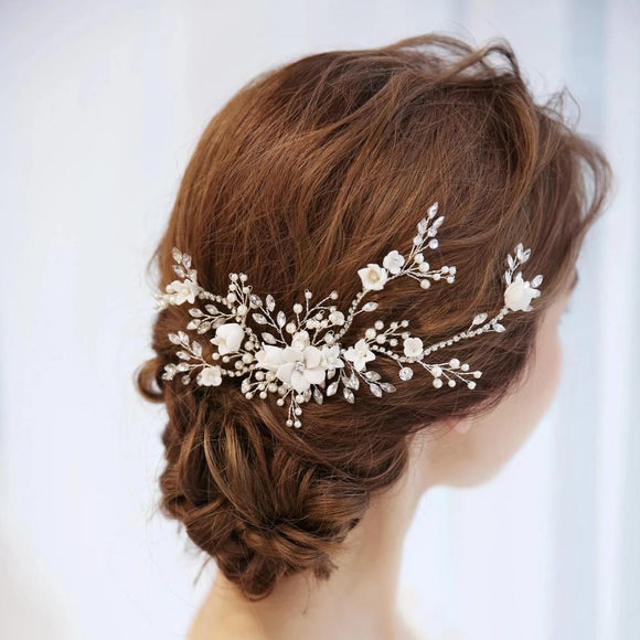 Silver White CLAY FLOWER white florets Bridal Hair comb for wedding, Hair Vine Green Alaska