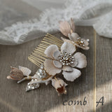 Brushed enamel bridal wedding bridesmaid hair comb, vintage boho hair vine hairpiece, white enamel hairpiece headband, boho blush romantic brass hairpiece, vintage hairpiece