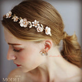 gold bridal hairpiece for weddings, flower hairpiece headband, light gold floras hair vine