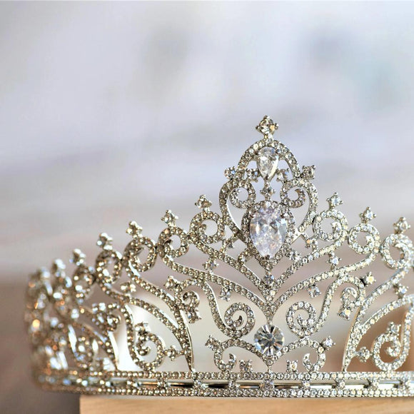 luxury royal rhinestone tiara for classic wedding