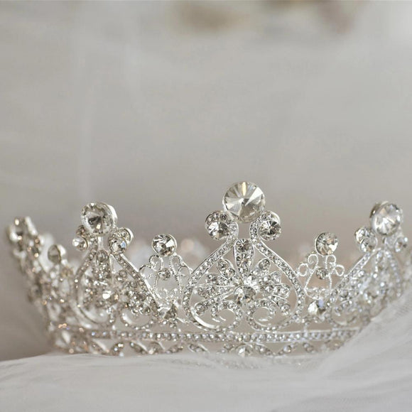 luxury rhinestone crown, bridal wedding tiara crown, bridal headpiece, bridal tiara, princess crown, half round tiara crown, full round tiara crown