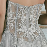 Handcrafted Luxury Sparkle,Crystals Dusty Blue Grey Custom Made Wedding Gown