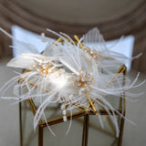 Fairy floral Bridal Hair pins with feather. Set of 3
