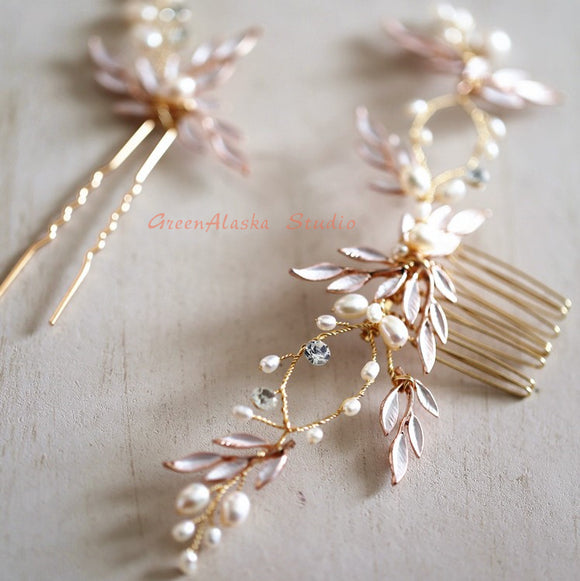 rose gold bridal hair vine back piece for bride, bride bridesmaid wedding hairpiece, rose gold leaf vine pearls